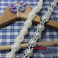 2Yds Lot 2cm Wide Black And White Pearl Lace Trims High End Clothing Collar Pearl Lace