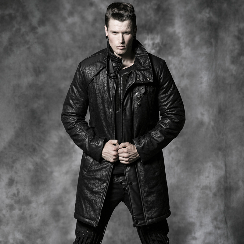 Punk new products punk fire cracks handsome patchwork wadded down jacket outerwear men