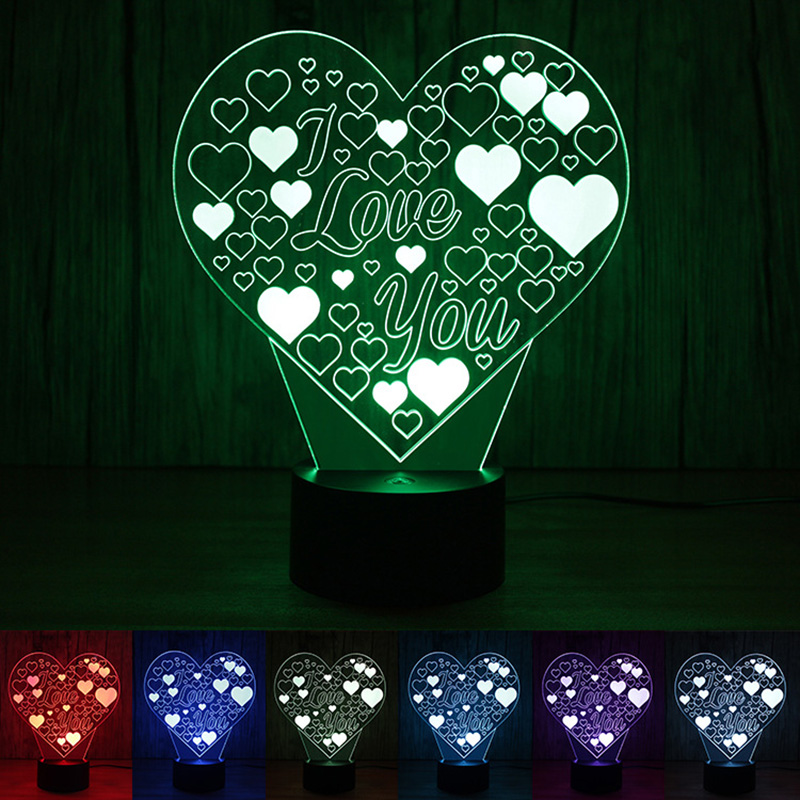Creative 3D Illusion Lamp Heart Shape I Love You Acrylic Night Light Romantic Mother's Day Gift for Lover Gradient Touch Lamp amroe 3d illusion love heart led lamp