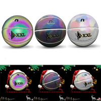NEW Luminous Street Rubber Basketball Ball PU Indoor and Outdoor Official Size7 Basketball Free With Net Bag+ Needle
