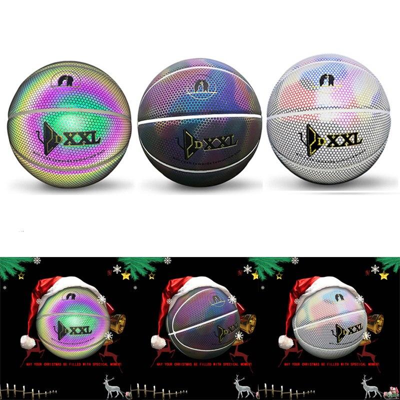 NOUVEAU Lumineux Rue Basket-Ball En Caoutchouc PU Intérieur et Extérieur Officiel Size7 Basket-Ball Gratuit Avec Sac Filet + Aiguille