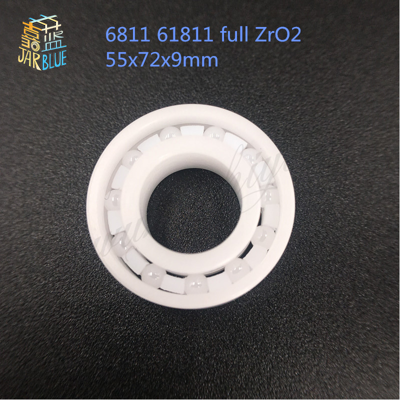 Free shipping 6811 61811 full ZrO2 ceramic deep groove ball bearing 55x72x9mm good quality 627 full zro2 ceramic deep groove ball bearing 7x22x7mm good quality