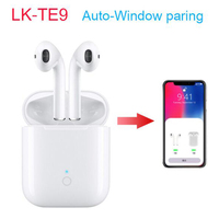 LK TE9 TWS Bluetooth 5.0 earphones PK i12 i9s wireless headset touch control with open cover automatic POP UP window