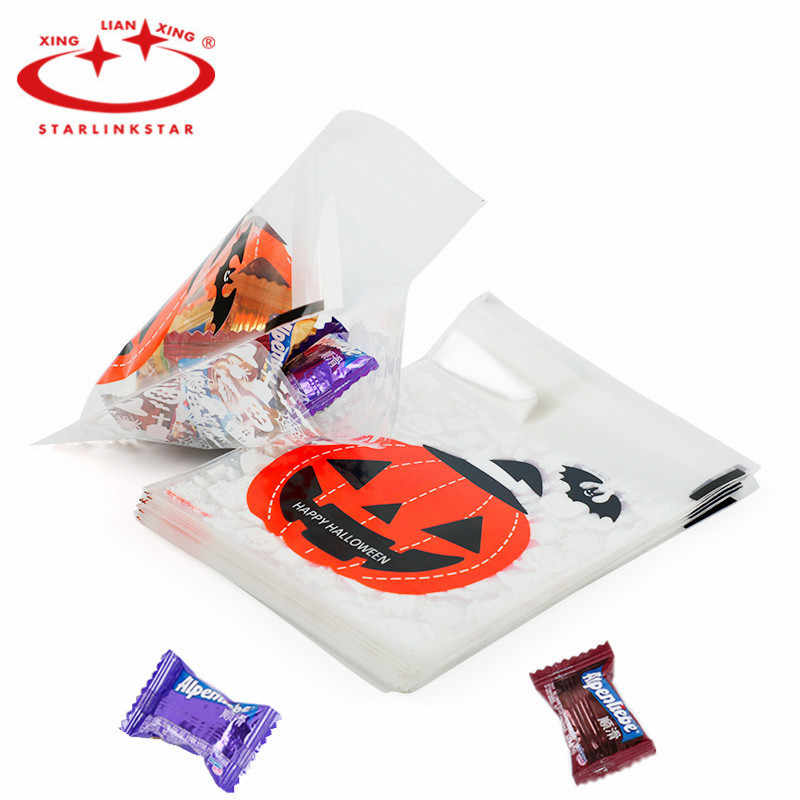 100 pcs Halloween Biscuits Candy Packing Ghost pumpkin Self-sealing Cookies West Point Bag Gift Bag Halloween Festive Gift Bag