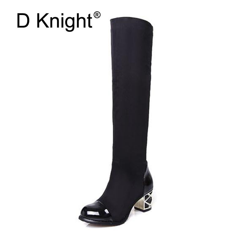 Sexy Flock Patchwork Thick Heel Knee High Boots For Women Fashion Stretch Fabric High Heels Women Winter High Boots Big Size 43