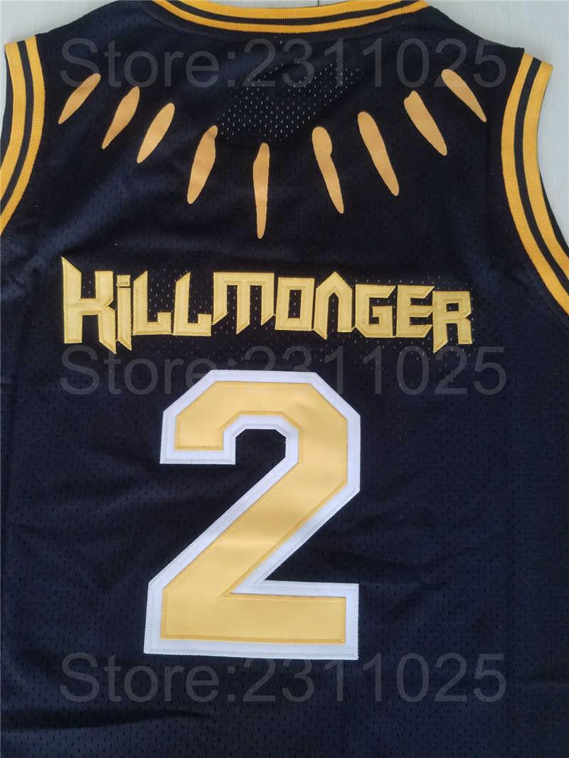 d7fd6e104d8 ... Ediwallen Movie Black Panther 2 Hillmoager Erik Killmonger WAKANDA Basketball  Jerseys Home Black Breathable Embroidery