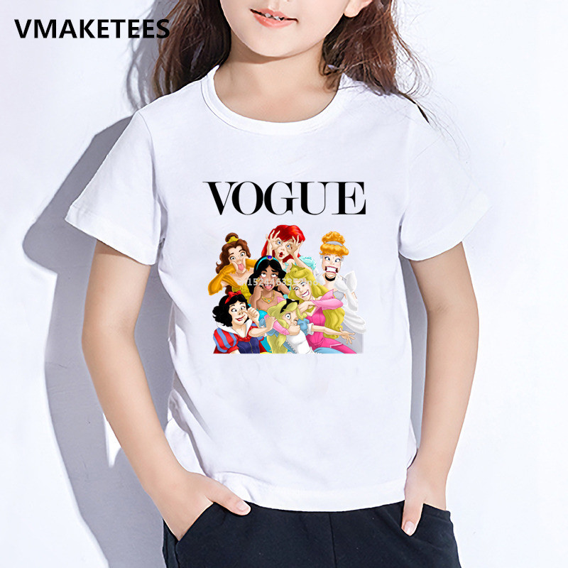 Harajuku Funny Cute Princess Vogue Print Children T-shirt Kids Short Sleeve O-Neck T Shirt Baby Girls Casual Clothes,HKP5294