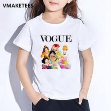 Harajuku/забавная Милая модная детская футболка с принтом принцессы Детская футболка с короткими рукавами и круглым вырезом повседневная одежда для маленьких девочек HKP5294