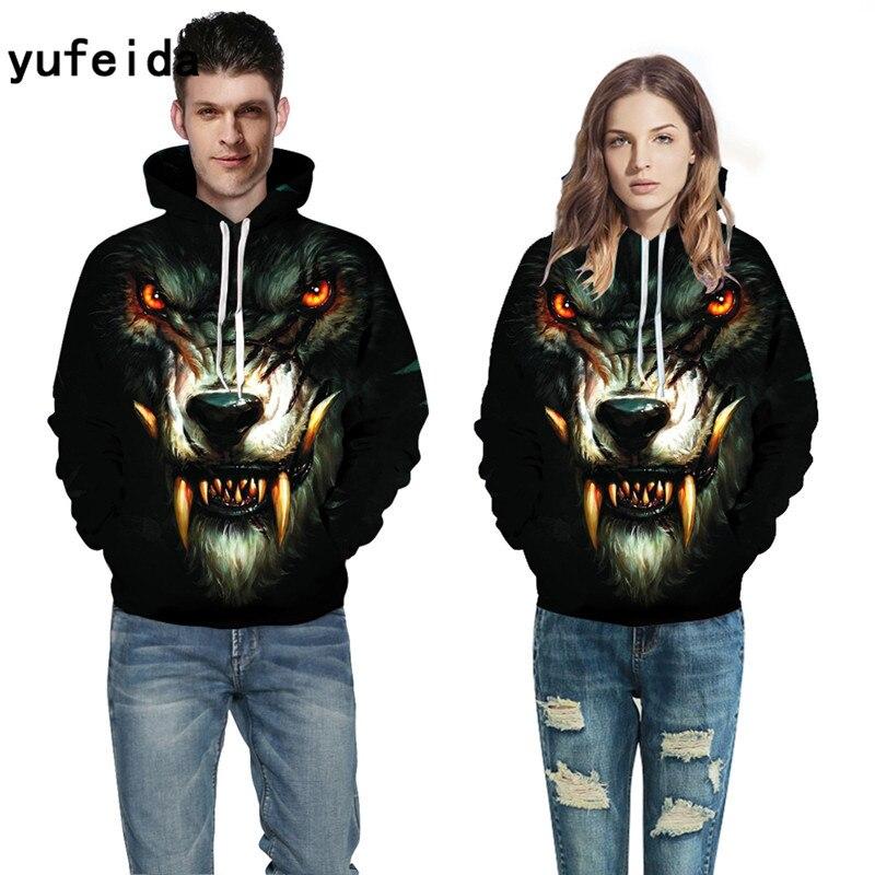 YUFEIDA Autumn Winter Fashion Men Women Hoodies With Cap Tusk 3D Print Couple Hooded Hoody 3d Sweatshirts Pullovers Top