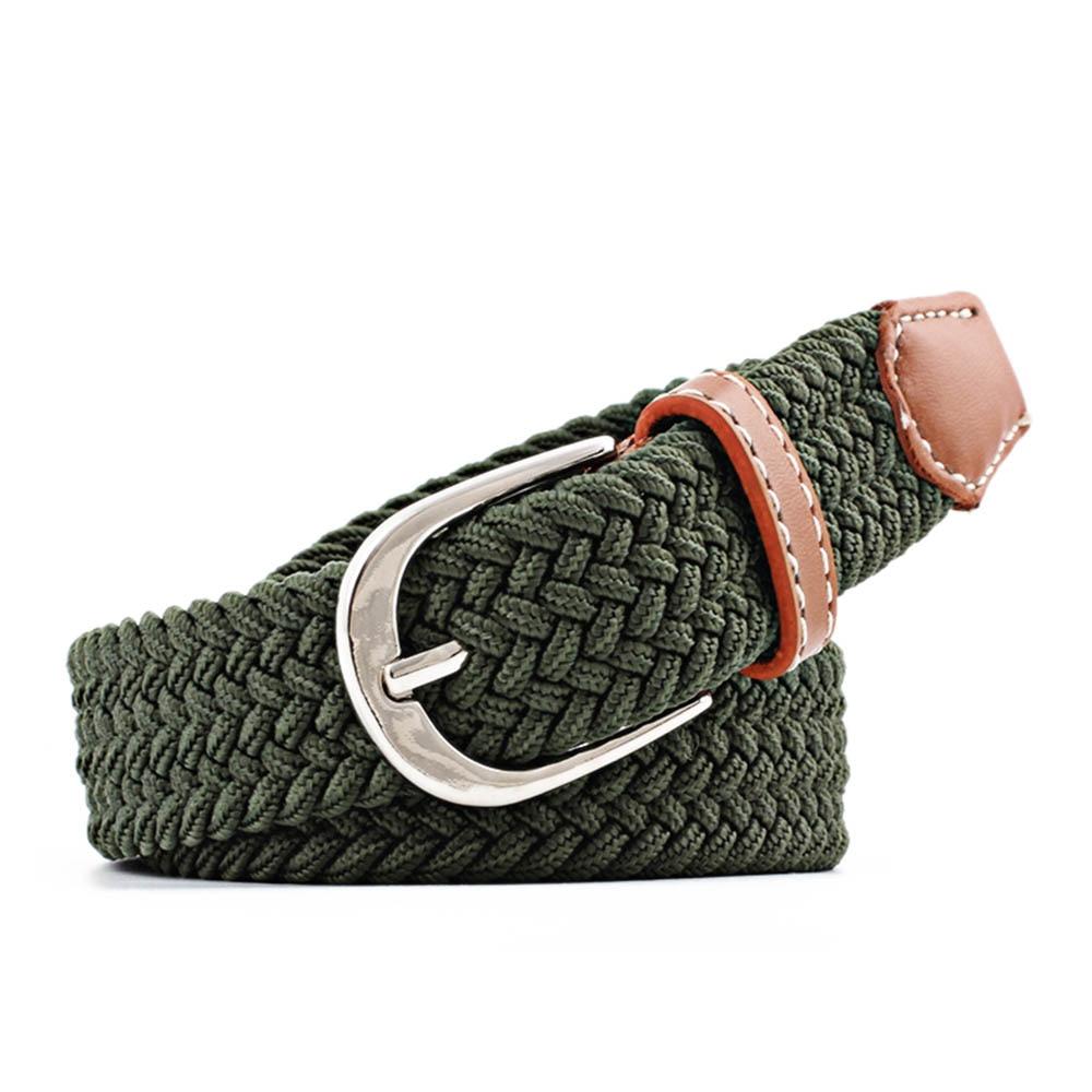 New Simple Casual Waist Belt Elastic Waistband Canvas Buckle Braided Woven Stretch Straps Unisex Jeans Accessories Waist Belt