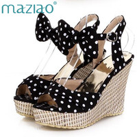 MAZIAO Summer Platform Shoes Ladies Fish toe Polka dot Bow Platform Wedges Heels Women Shoes Two Piece Ladies Shoes Red Blue