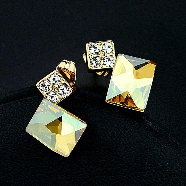 Известный бренд природный цитрин мода квадратные золотые серьги женских аксессуары оптовая продажа подруга подарок на день рождения