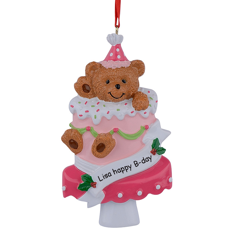 aliexpresscom buy bear cake cup baby 1st first christmas ornaments personalized hand painted diy polyresin craft souvenirs birthday gifts from reliable