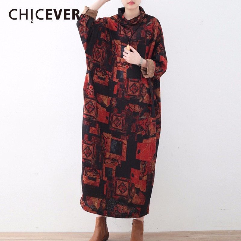 CHICEVER Winter Knitted Print Dress Female Turtleneck Long Sleeve Tunics Pullovers Dresses Of The big Size Top Loose Clothes