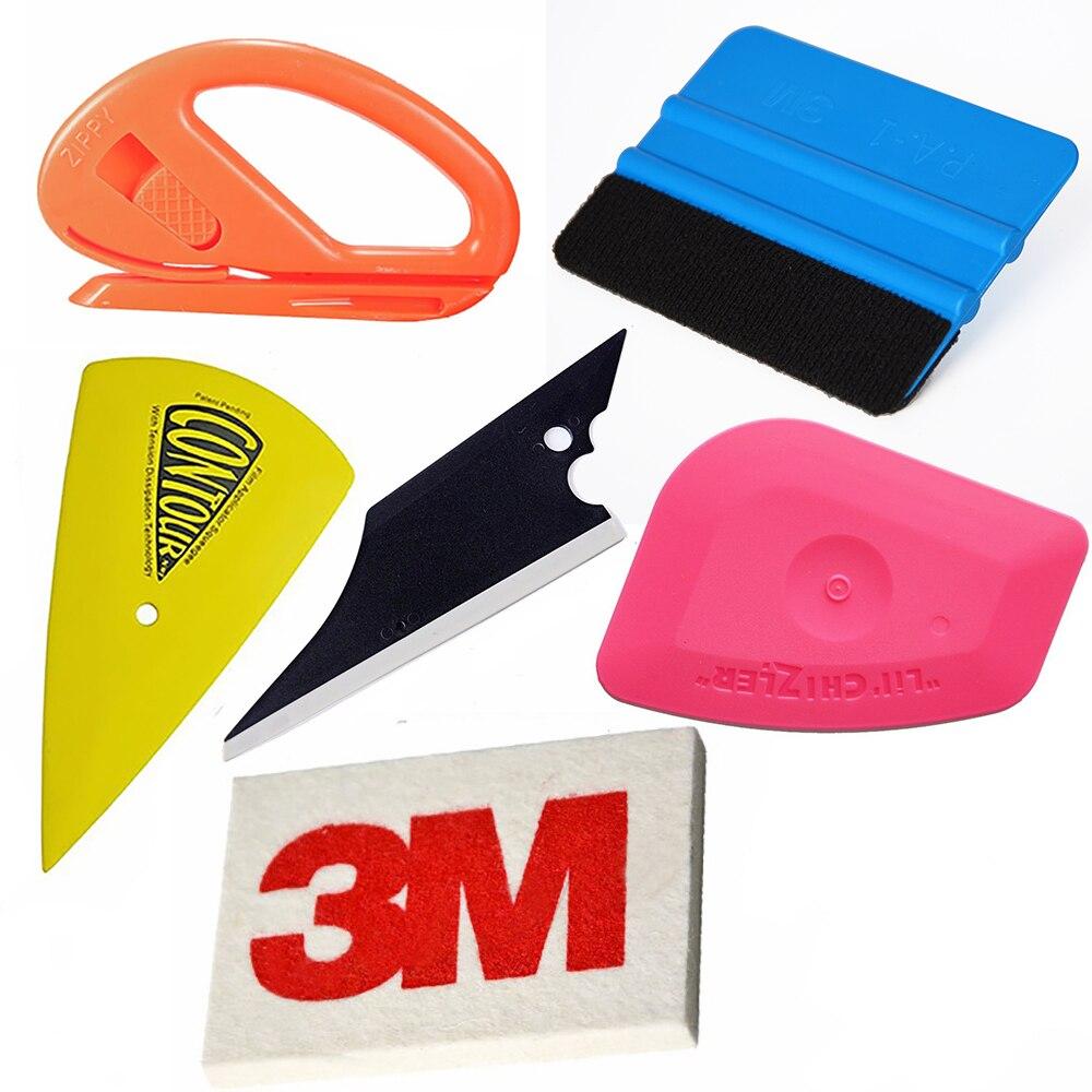 EHDIS 6pcs Vinyl Film Car Wrap Installation Application Tool Kit 3M Carbon Fiber Felt Wool Squeegee Ice Scraper Knife Cutter цена
