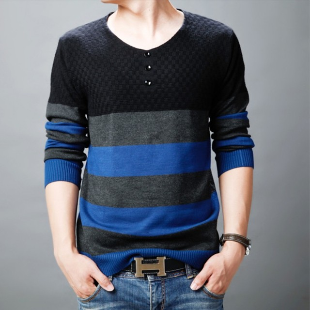 2016 New Autumn Fashion Brand Casual Sweater V-Neck Striped Slim Fit Knitting Mens Sweaters And Pullovers Men Pullover Men 3XL