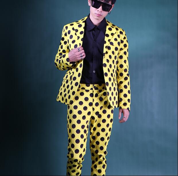 Желтый, черный, волнистый, новый комплект из 2 предметов, мужской тонкий корейский стиль для волос, ночной клуб, мужской повседневный Блейзер...