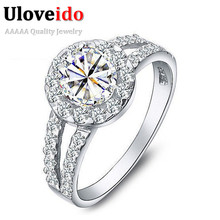 50% off 2014 New Arrival Ring Silver 925 Fashion Crystal White Big Simulated Stone for Women Bridal Wedding,Anel Prata Sale J510