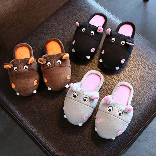 2b9c9f3bde7c Women Winter Warm Cartoon Hippopotamus Women Home Slippers Winter Soft Plush  Indoor Floor House Shoes Non-slip Bedroom Slippers