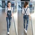 Estilo coreano Primavera Mono del Dril de algodón 2017 de Las Mujeres Overol de Mezclilla Femenina Pantalones Correa Estilo Preppy Denim Jeans Mono E346