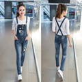 Korean Style Spring Denim Jumpsuits 2017 Women's Overalls Female Denim Strap Trousers Preppy Style Denim Jeans Jumpsuit E346