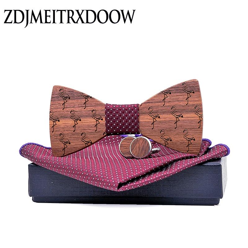 Wooden Bow Tie Set For Mens Wood Bowties Handkerchief Cufflinks Helloween Set Gravatas Wedding Flamingo Strip Shirt Ties