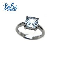 Bolaijewelry,simple style natural aquamarine gemstone light color cu8.0mm ring 925 sterling silver fine jewelry for women gift