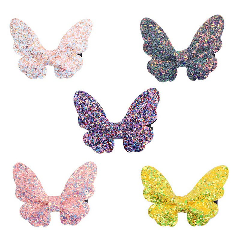 Butterfly Bling Bling Hair Clips Kids Hairpins Cute Felt Glitter Bow Hair Barrettes Children Kids Hair Accessories(China)