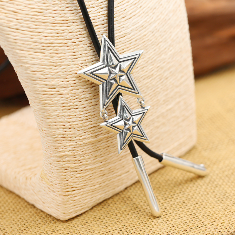 все цены на Fashion S925 Sterling Silver Retro Thai Silver Cody Five Pointed Star Men And Women Models Leather Rope Suit Sweater Chain