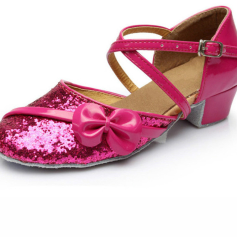 Red Gold Silver Pink Sequin Shoes Latin