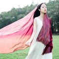 The new women sunscreen shawl Gradient color fresh literary style pinstripe cotton scarves