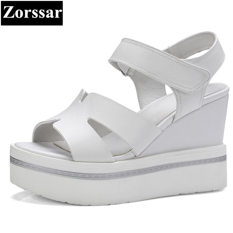 Summer shoes Women Casual Platform wedges sandals open toe woman creeper shoes 2017 Fashion Genuine leather womens High heels 2017 summer shoes woman platform sandals women soft leather casual open toe gladiator wedges trifle mujer women shoes b2792