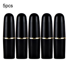 5pcs Matt Black Round Empty Lipstick Tubes DIY Pointed Lip Balm Tools Homemade Lipstick Containers Empty Cosmetic Tube(China)