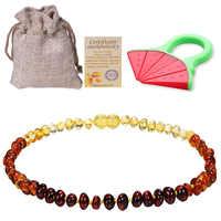 Baltic Ambers Zahnen Halskette Für Babys (Unisex) (Zitrone)-Anti Flammatory, natürliche Zertifiziert Oval Baltic Schmuck 14-33 cm
