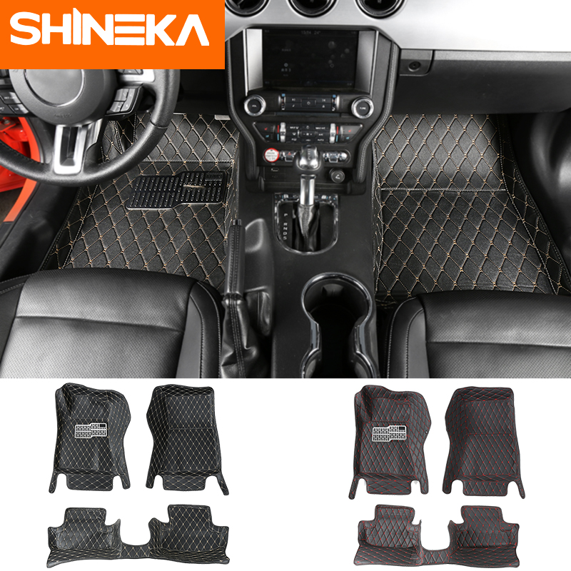 SHINEKA tapis de sol pour Ford Mustang 2015-2017 tapis de pied en cuir Anti-sale autocollant de luxe pour accessoires Mustang 2015