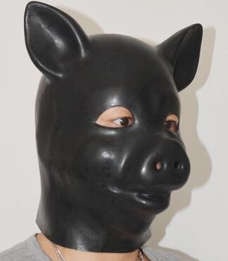 (LH03) Fetish Latex full head latex pig dog cat leopard head slave - Disfraces - foto 1