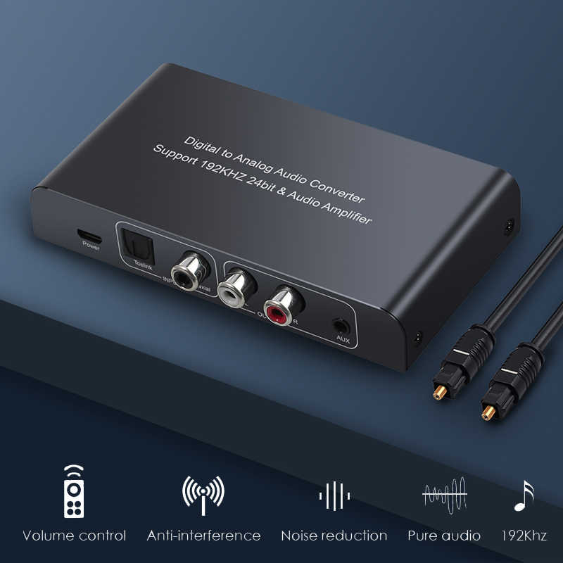 Convertidor de Audio Digital a analógico Proster DAC con adaptador RCA Jack 3,5mm