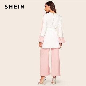 Image 2 - Shein abaya elegante dois tons auto com cinto superior e perna larga calças 2 peça conjunto feminino 2019 primavera outono longo blusa conjunto de duas peças