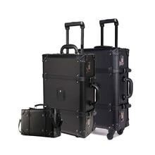 LeTrend ретро чемодан на колёсиках набор Спиннер для женщин пароль тележка 24 дюймов чемодан колеса 20 дюймов Винтаж кабина дорожная сумка багажник
