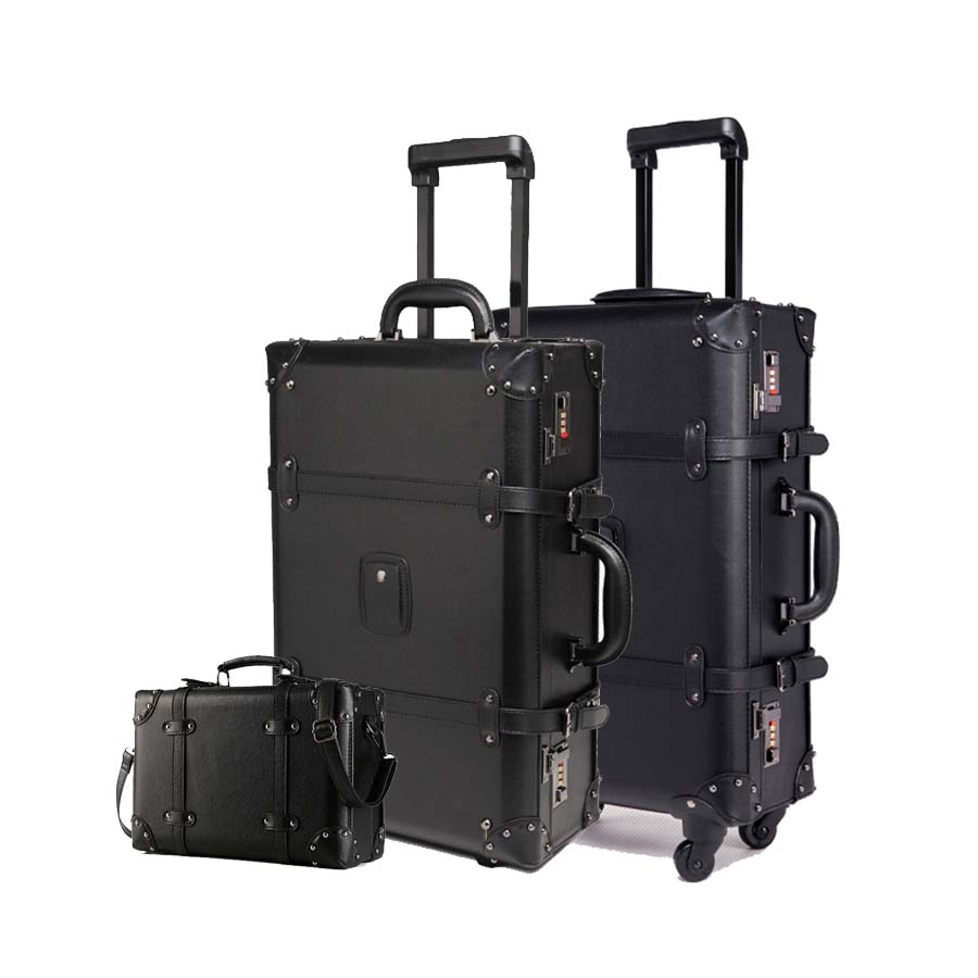 Retro Black Rolling Luggage Set Spinner Women Password Trolley 24 inch Suitcase Wheels 20 inch Vintage Cabin Travel Bag Trunk alzenit oem new for hp designjet dj 9000s trailing cable q6665 60046 plotter printer parts