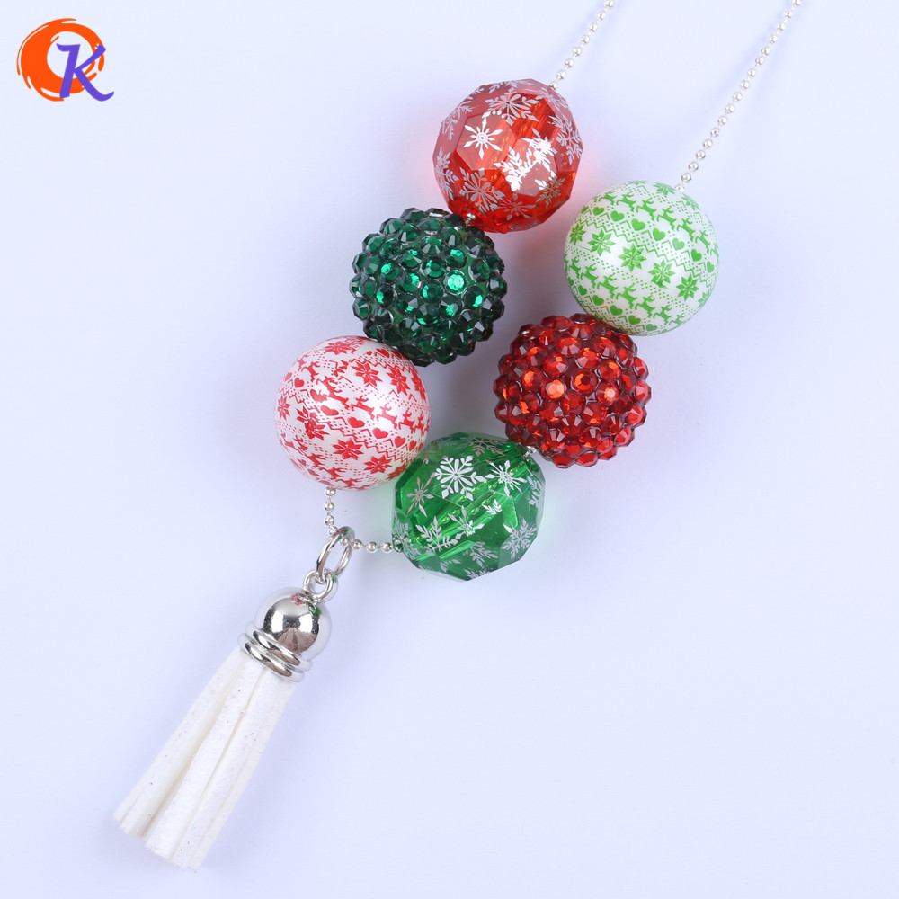 Classical Design Finished Fashion Jewelry Bubblegum Chunky White Tassel Pendant Christmas Holiday Necklace Jewelry CDLN-0032