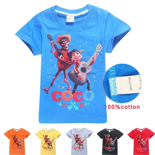 b86eae797 100% nuevo ropa para niños 2018 algodón camiseta verano COCO niños Camisetas  Bebé niños y