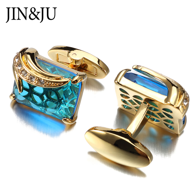 JIN&JU Men Jewelry Low-key Luxury Cufflinks for Mens High Quality Square Crystal Cufflinks Shirt Cuff Links