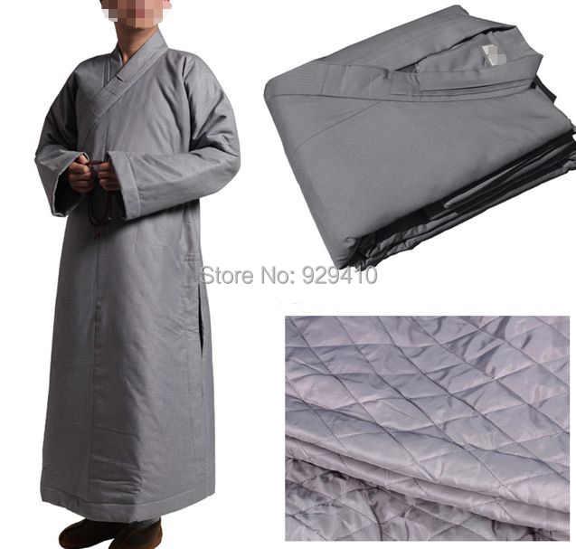 高品質少林寺の僧侶冬暖かい禅綿ローブ仏教スーツ瞑想築く制服武道服グレー