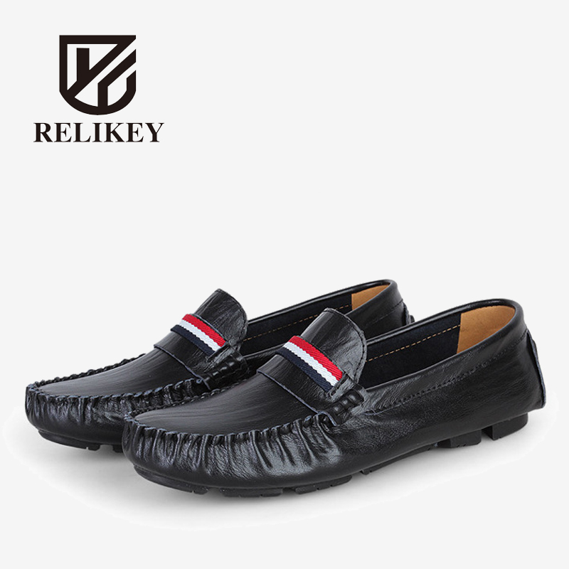 RELIKEY Brand Men Loafers New Arrival Soft Full Grain Leather Driving Shoes Casual Male Flats High Quality Moccasins for Men  2017 brand fashion big size 39 44 men loafers high quality men full grain leather shoes luxury soft leather casual men flats