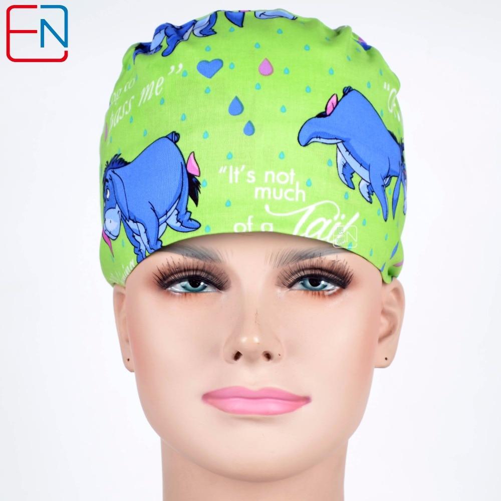 Hennar Doctor Scrub Hats Mask Women Green Cartoon Print Surgical Hats Clinic Cap Cotton High Quality Scrub Surgical Caps Masks