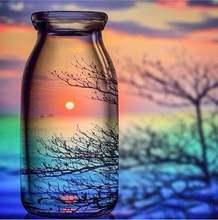 Сделай сам алмазная живопись бутылка пейзаж вышивка крестиком