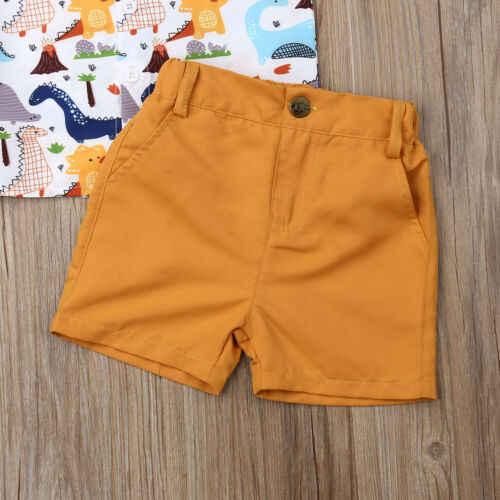 Одежда для маленьких мальчиков, 2 предмета, летние топы для новорожденных мальчиков, футболка, брюки с динозаврами, шорты, одежда