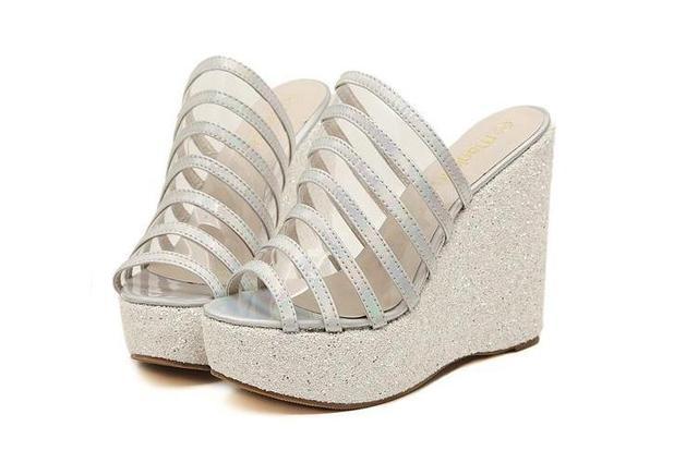 6129676d6a4 Glitter Jelly Sandals Rainbow Shining Wedges Cheap Glitter Silver Gold Platform  Wedges Cheap Clear Glitter Jelly Wedge Sandals