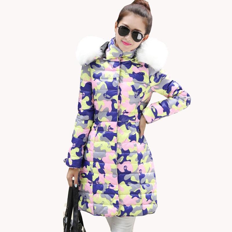 ФОТО 2016 European Women Winter Long Jacket  Slim Fashion Female Hooded Cotton Jackets Camouflage casaco feminino New Parka JY-858